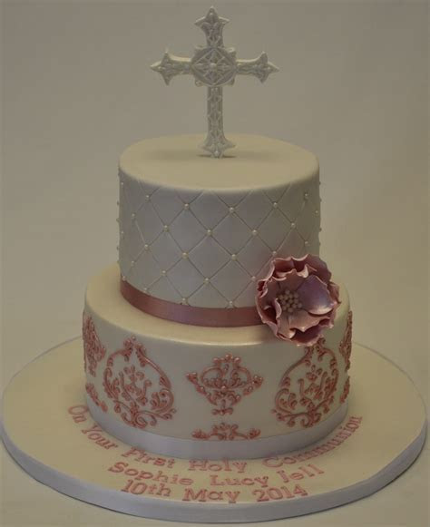 Quilted and Damask 2 Tier Holy Communion Cake