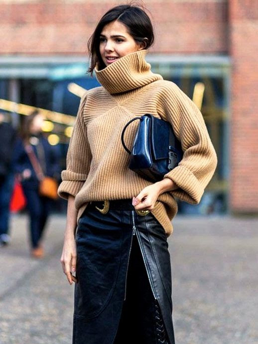 Le Fashion Blog Fall Style Ribbed Camel Turtleneck Sweater Navy Bag Black And Gold Buckle Belt Leather Skirt With Side Zipper Via Who What Wear
