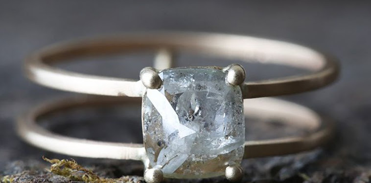 Natural Rough Cut Diamond Ring