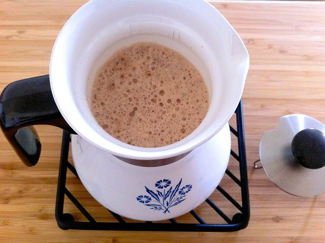 Hot Chocolate Transferred to Coffee Pot