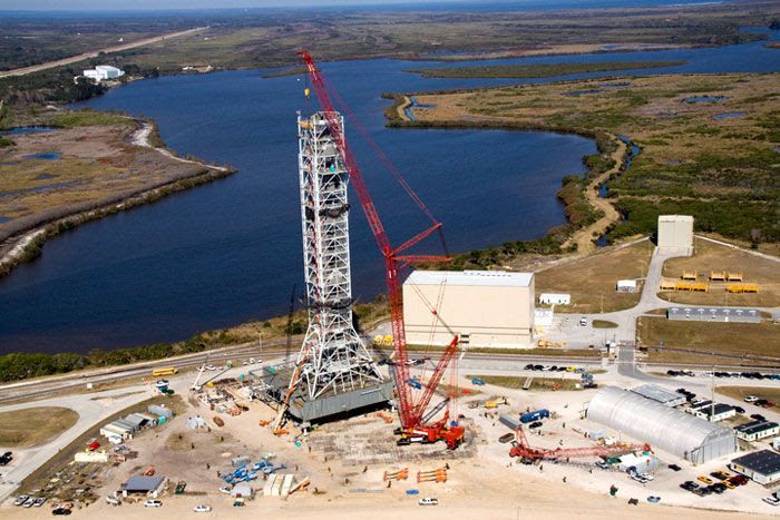 Construction being completed on the Mobile Launcher Platform for NASA's now-cancelled Ares I rocket.