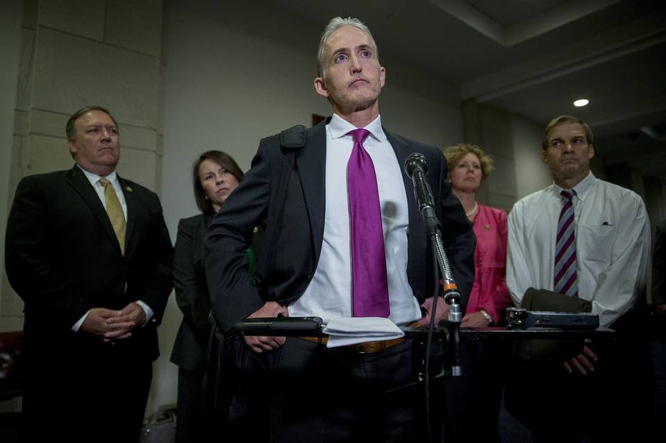 Trey Gowdy (R., S.C.), the House Benghazi committee chairman, and other committee members at a Capitol Hill news conference, Sept. 10.
