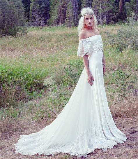 bohemian beach long wedding dresses  shoulder ivory