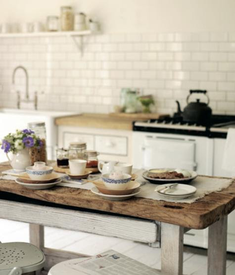Pretty Old Houses: Are Farm Tables The New Kitchen Island?