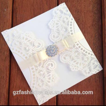 Gate Fold Laser Cut Wedding Invitation With Ribbon And