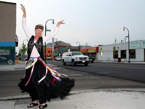 Tamara Rogers dancing on Lake Street