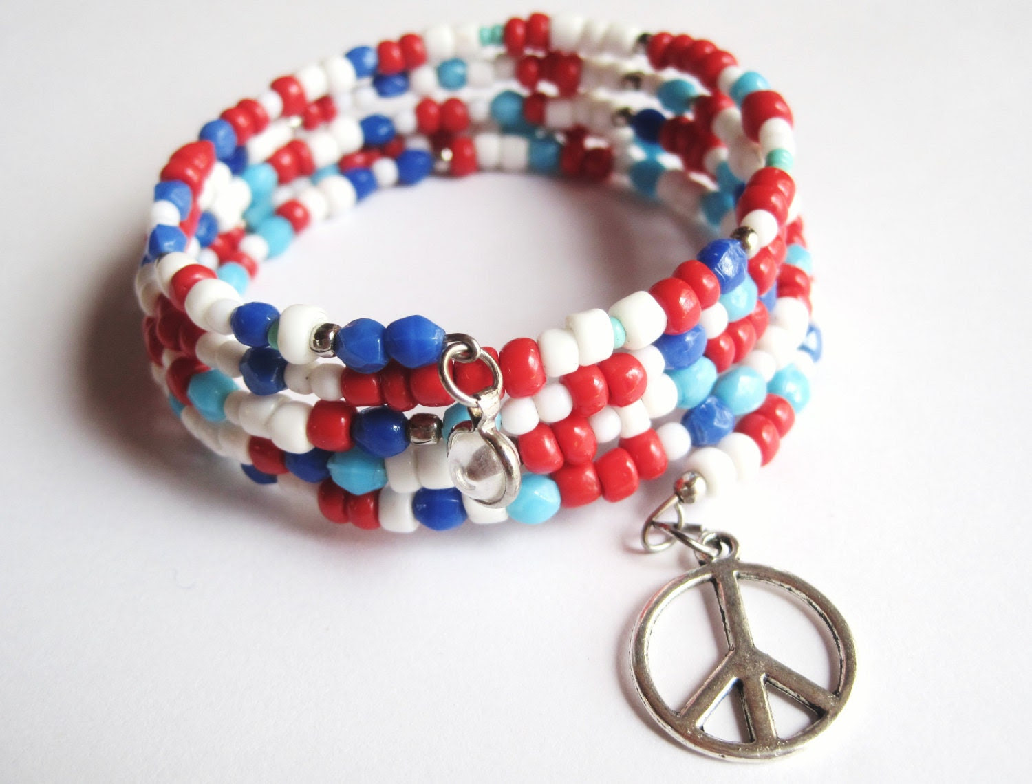 "Bracelet - Memory Bracelet - Red, Turquoise, White and Royal Blue - Peace - ""What Is So Wrong"" - jHenSunshine"