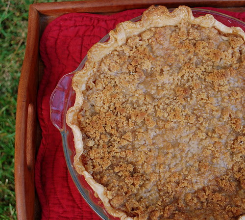 Grated Apple Pie in tray
