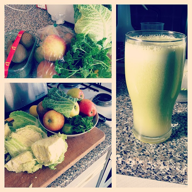 Tonight's juicing ingredients; apples, ginger, parsley, kiwis, lemon and cabbage! Yes you read that right cabbage! It was a first and very tasty. Though you don't taste the cabbage much :)