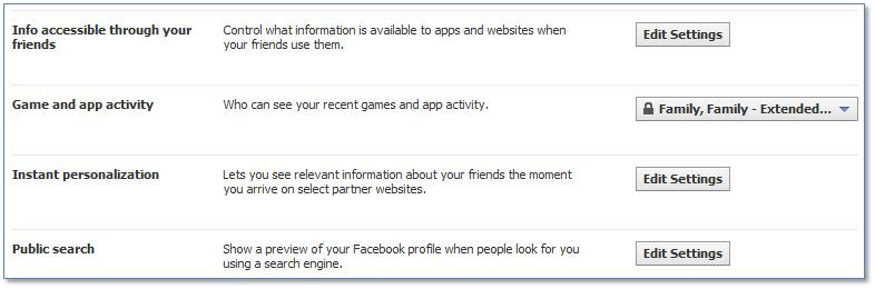Facebook Apps, Games and Websites Further Settings