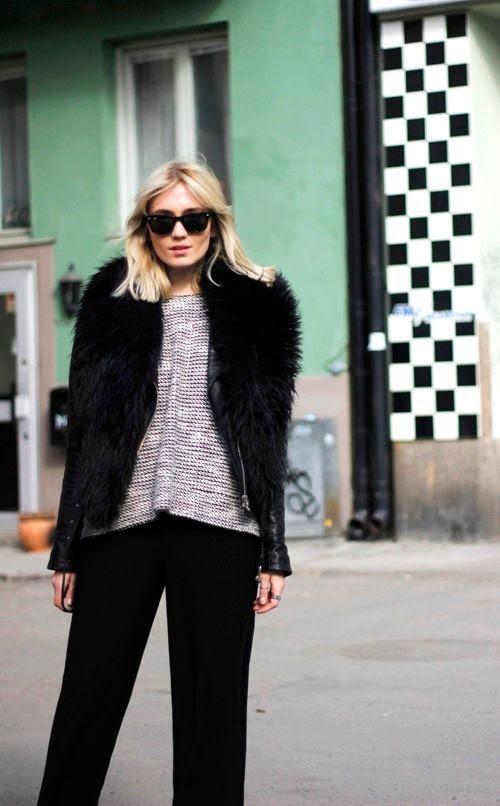 Le Fashion Blog -- Josefin Dahlberg Swedish Blogger Fur Scarf Leather Jacket Black White Sweater Wide Leg Pants -- photo Le-Fashion-Blog-Josefin-Dahlberg-Swedish-Blogger-Fur-Scarf-Leather-Jacket-Black-White-Sweater-Wide-Leg-Pants.jpg