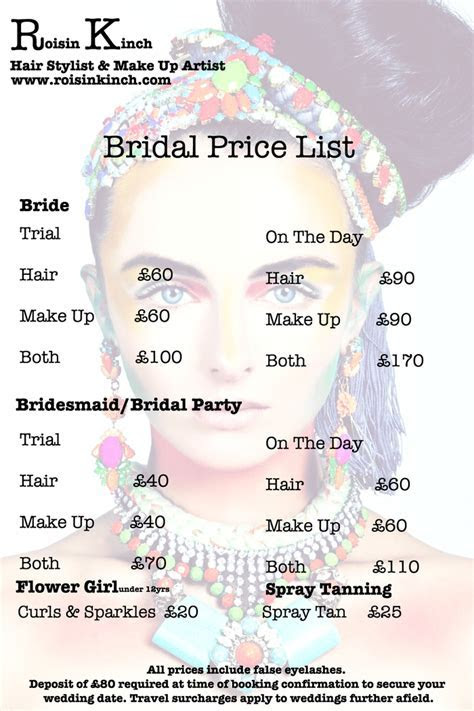 Price List   Roisin Kinch   Hair stylist and make up