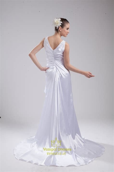 A Line Princess V Neck Chapel Train Wedding Dress,V Neck