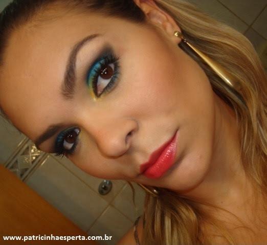 008post Tutorial   Maquiagem Azul e Dourado para Baladas e Festas