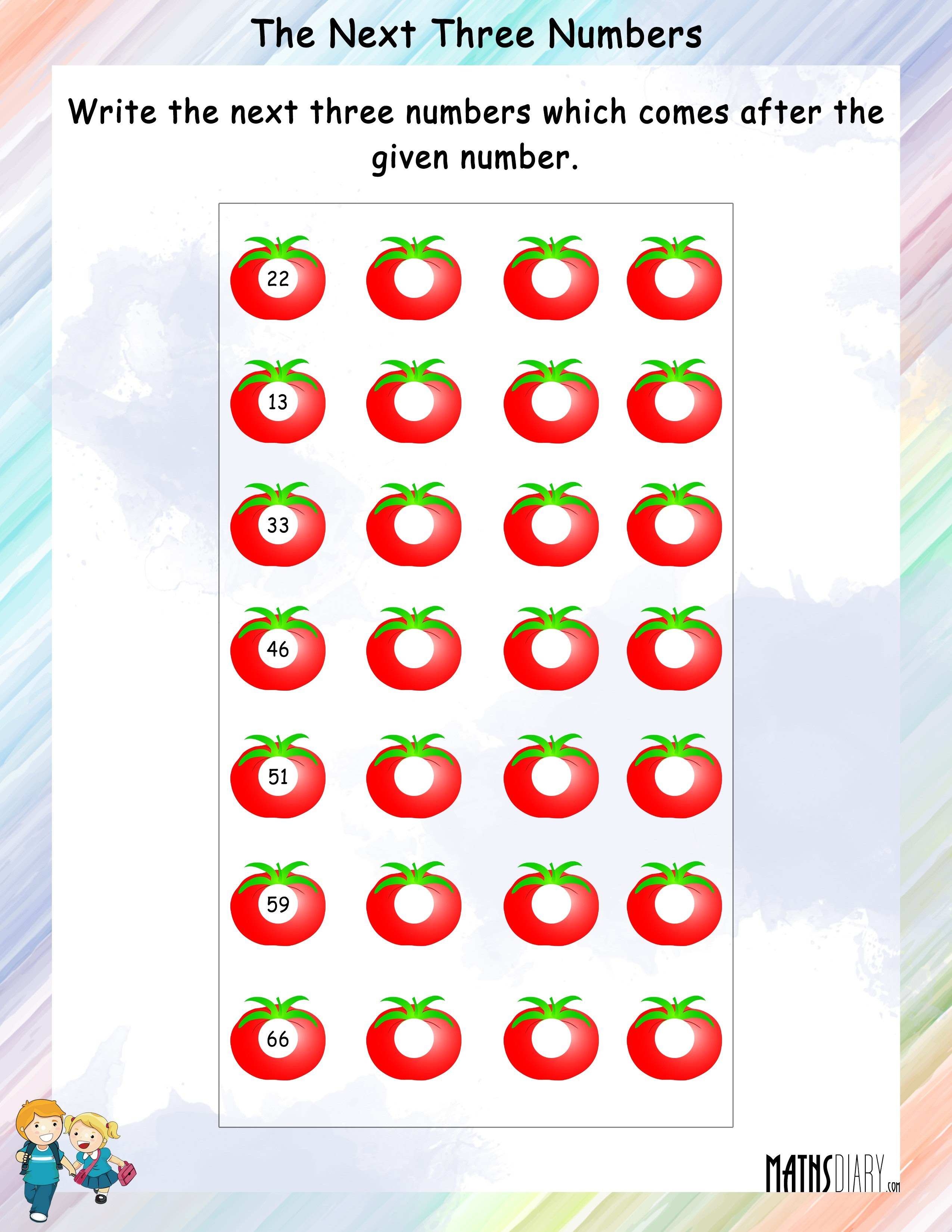 next numbers worksheet 1