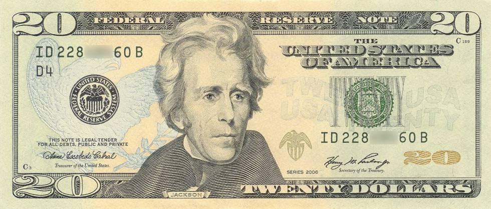 Billete con la efigie de Andrew Jackson e imagen de Donald Trump con el retrato del séptimo presidente de EE.UU que instaló en el despacho oval.