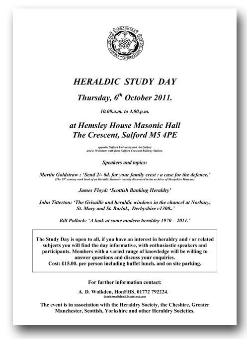 Heraldic Study Day - Thursday 6th October 2011
