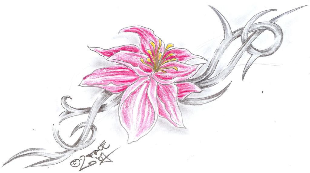 Flower Tribal C. Tattoo Design - flower tattoo