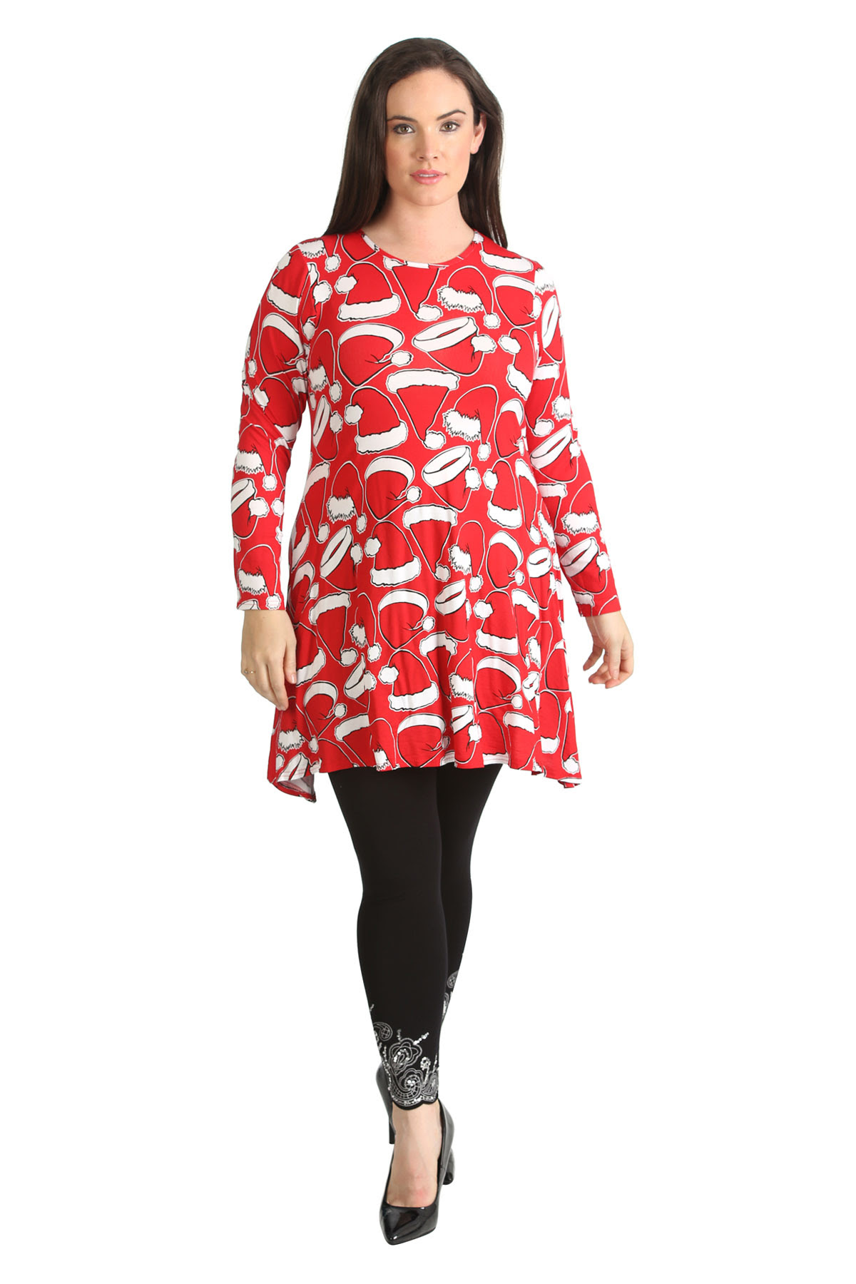 womens dress ladies plus size santa christmas hat print