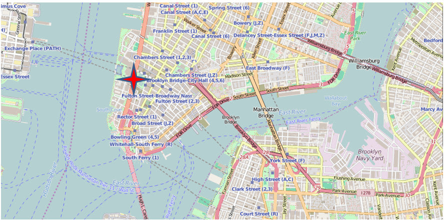 The red star marks the location of the World Trade Centers in Lower Manhattan, New York City. Vergara frequently photographed the skyline from the West (Exchange Place in New Jersey), the South (Upper New York Bay), and the East (Brooklyn and Manhattan bridges). Contains information from OpenStreetMap which is made available here under the Open Database License (ODbL).