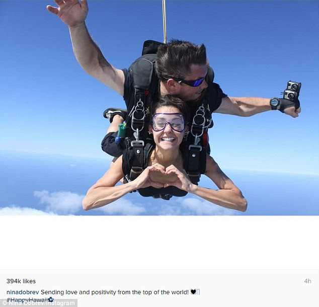 Ringing out the old: Nina Dobrev marked the start of 2016 by skydiving in Hawaii on New Year's Day