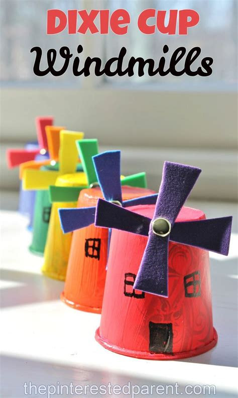 dixie cup windmills  images easy crafts  kids