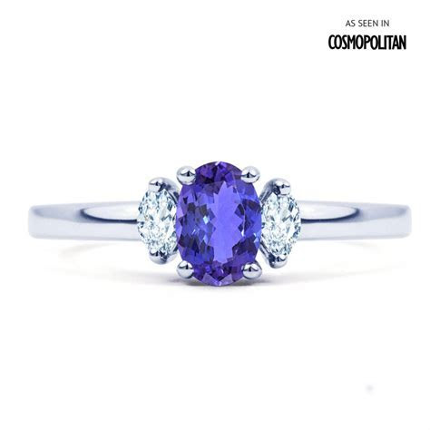 Rani 18ct White Gold Tanzanite and Diamond Engagement Ring