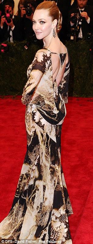 Slim pickings: Amanda Seyfried was looking exceedingly svelte in her opulent patterned dress