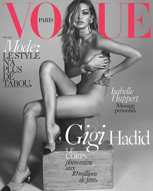 Strike a pose:Gigi Hadid sealed her supermodel credentials by sitting completely nude for her first cover of French Vogue