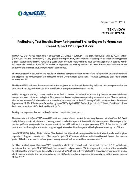 2017-09-21 Preliminary Test Results Show Refrigerated