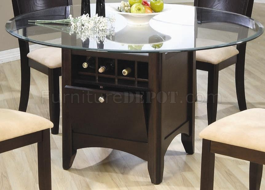 Deep Cappuccino Finish Dinette With Wine Rack Glass Top Table