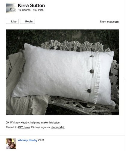 DIY Love : Lila Side Ruffle Linen Pillow with Down Insert by FullBloomCottage