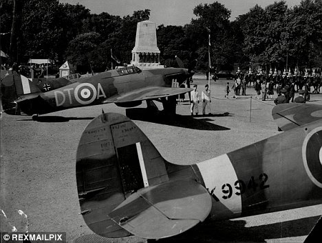 Fighter aircraft old and new can be seen in London's Horse Guards parade to mark the Battle Of Britain Anniversary in 1953