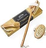 #9: Dry Brushing Body Brush for Dry Skin Brushing & Exfoliating with 100% Natural Boar Bristles & Long Handle kit - Back Brush Scrubber, Bath & Shower Brush, Face Brush, Cellulite Massager Brush Gift Set