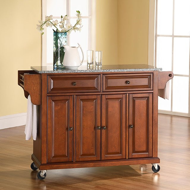 Cherry 52 Inch Kitchen Cart With Light Granite Top Rc Willey Furniture Store