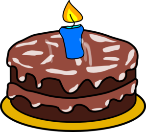 Cake With 1 Candle Clip Art