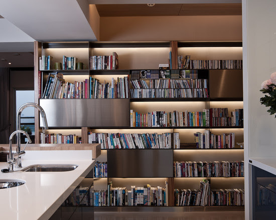 Architecture: Fascinating Kitchen With Large Bookshelf Design At ...