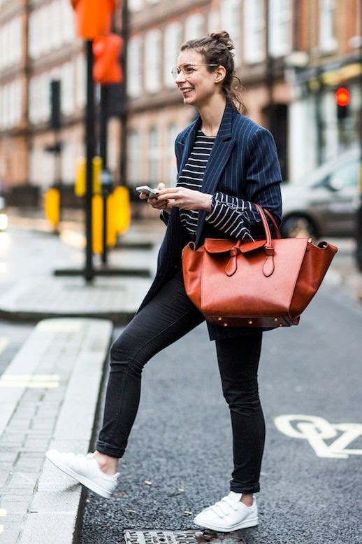Le Fashion Blog Street Style Pin Stripe Blazer Striped Long Sleeve Shirt Brown Leather Celine Bag Black Skinny Jeans White Sneakers Via Vogue Paris