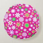 Pink Flower Power Round Pillow