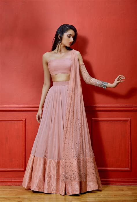 SALMON COLD SHOULDER LEHENGA in 2019   Products   Indian