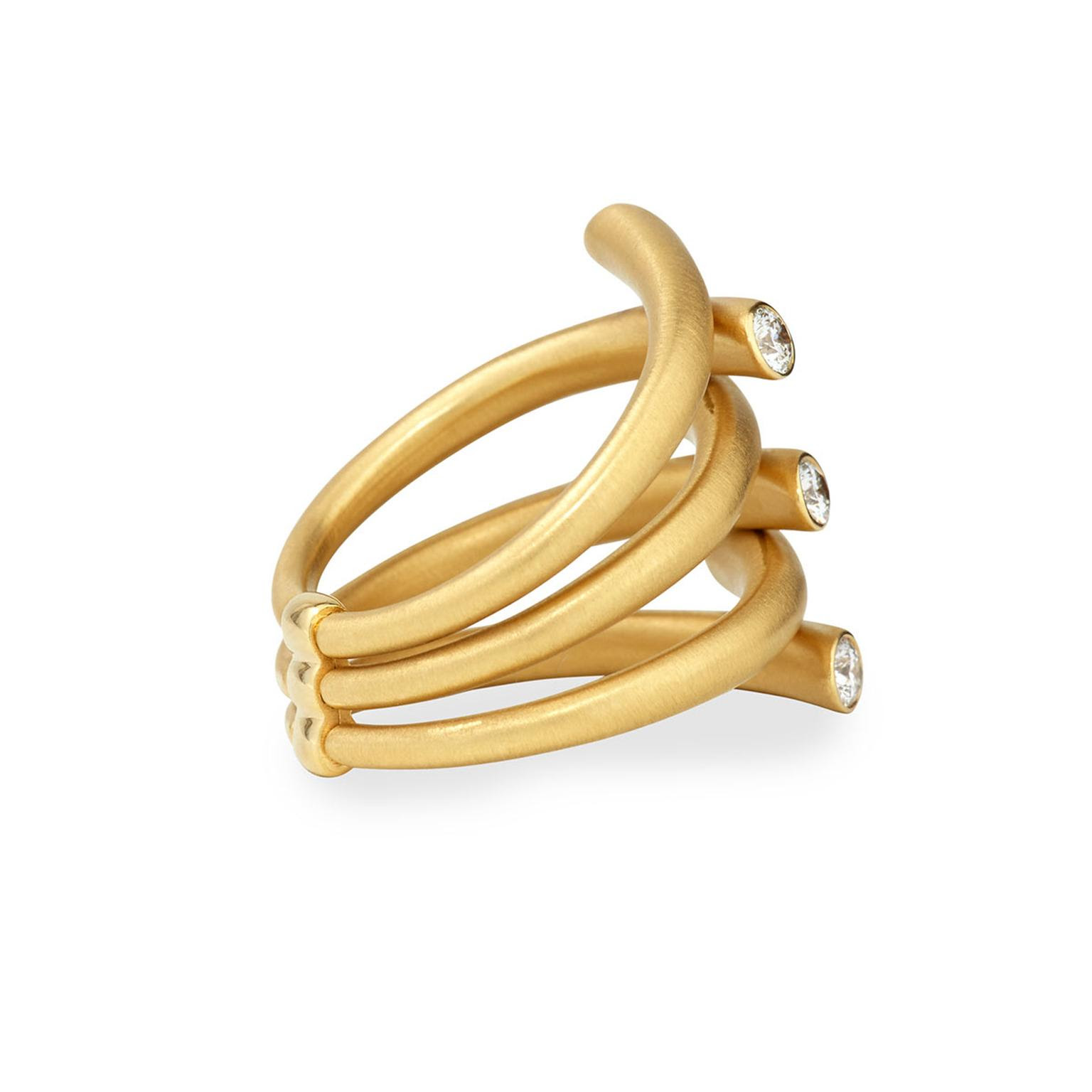Carelle multi-row gold ring with diamonds