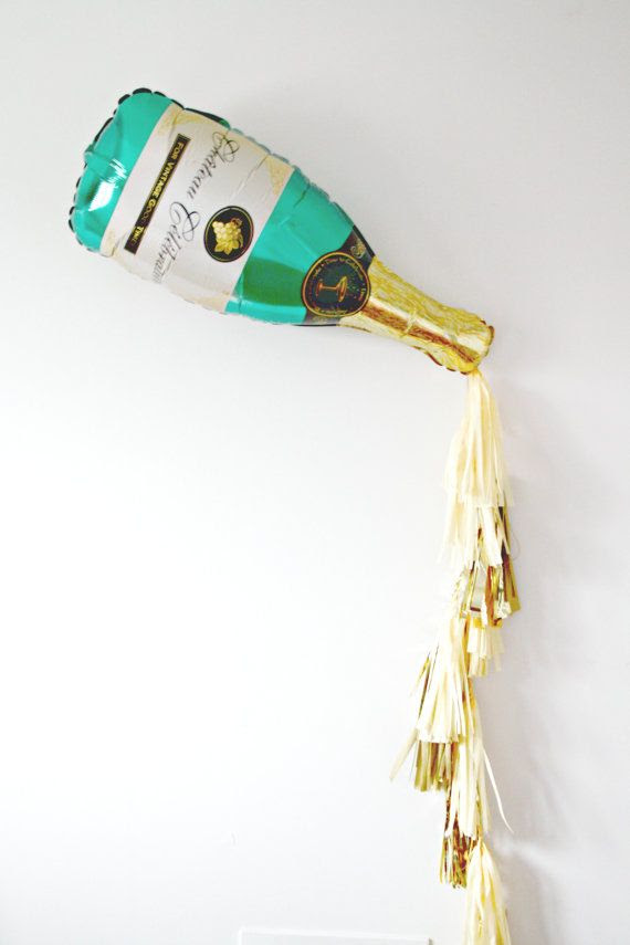 New Years Eve Champagne Bottle Tassel Balloon New Years Eve Decor