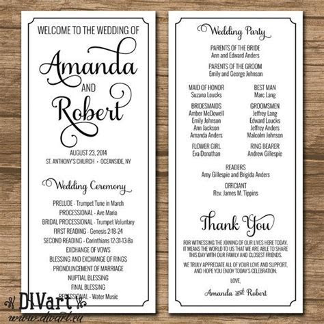 Wedding Program, Ceremony Program   PRINTABLE or PRINTED