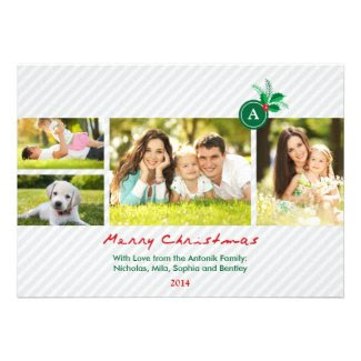 Monogram and Mistletoe Christmas Photo Card