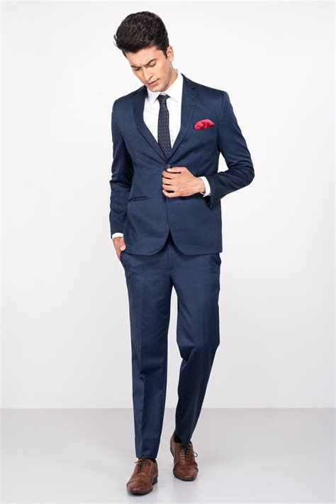 Rent Raymond   Navy Blue Single Breasted Two  Piece Suit