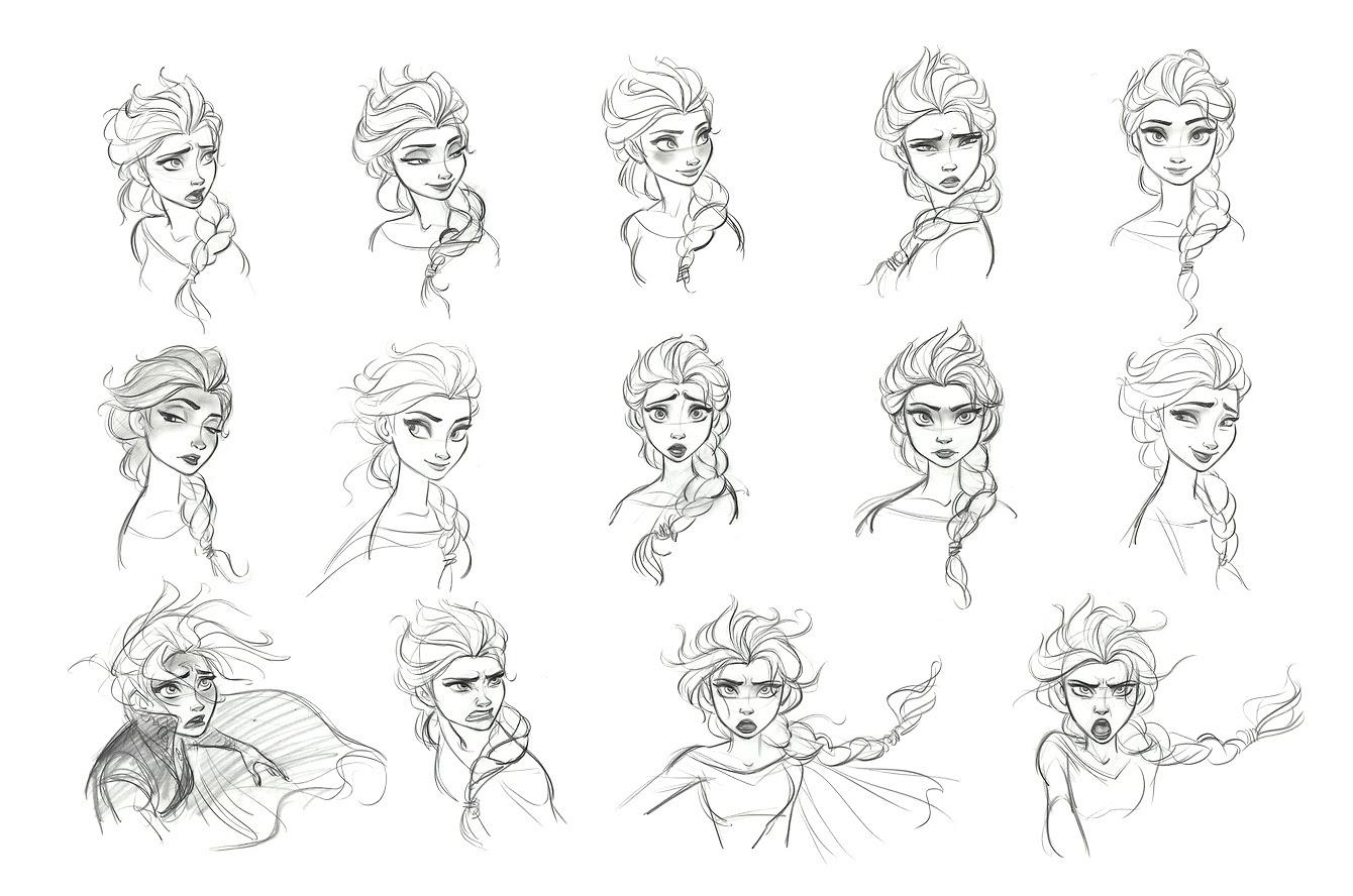 エルサの表情集鉛筆画 アナと雪の女王公式の2dイラストが