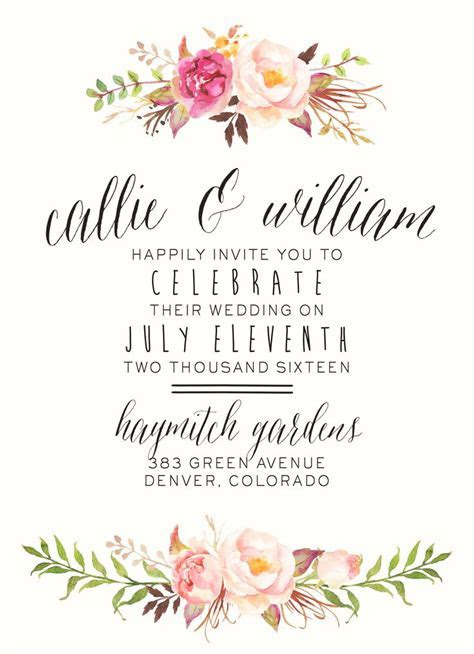 Bohemian Wedding Invitation Suite   DIY, Rustic, Chic
