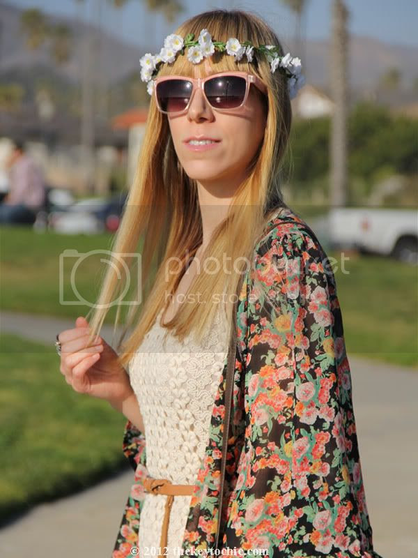floral headband garland, Unif the robe in bouquet, crochet dress, Los Angeles fashion blog, southern California fashion blog