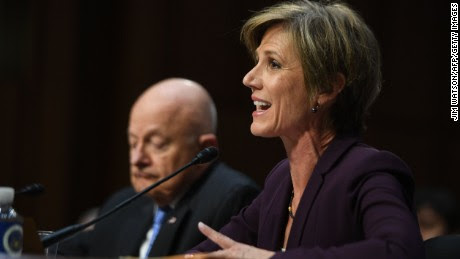 Former acting Attorney General Sally Yates (R) and former Director of National Intelligence James Clapper testify on May 8, 2017, before the US Senate Judiciary Committee on Capitol Hill in Washington, DC. / AFP PHOTO / JIM WATSON        (Photo credit should read JIM WATSON/AFP/Getty Images)