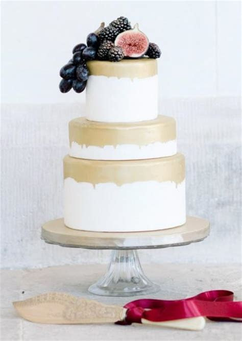 Small 3 Tier Wedding Cake with Gold Glaze & Fig, Berries